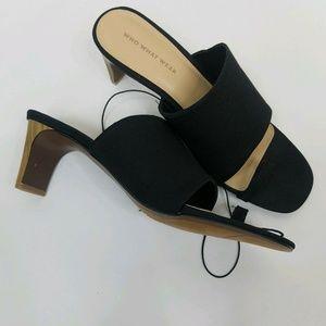 Black Slide Sandals Heels and Toe Strap Size 9